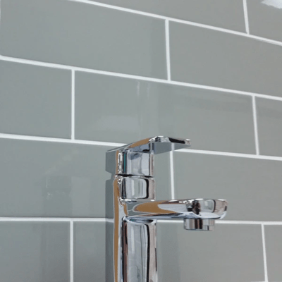 Gloss Grey Flat Ceramic Wall Tiles 10 x 30 cm
