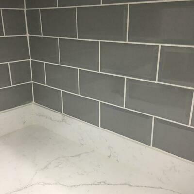 Metro Grey Bevelled Gloss Wall Tiles 20 x 10 cm