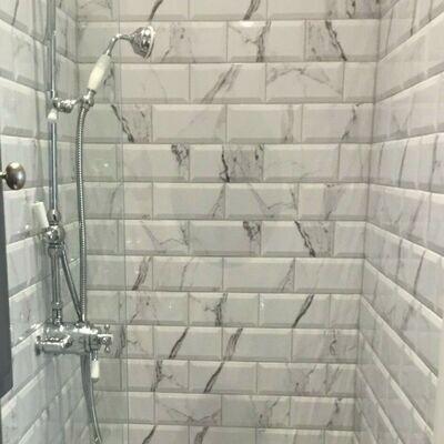 White Marble Metro Gloss Wall Tiles 10 x 20 cm