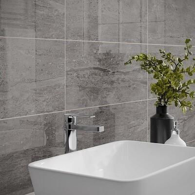 Aintree Grey Gloss Wall Tiles 25 x 50 cm
