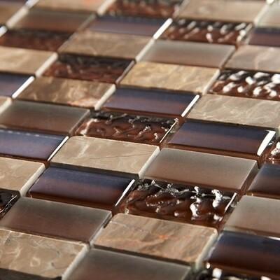 Brown Linear Glass Mosaic 30 X 30 cm