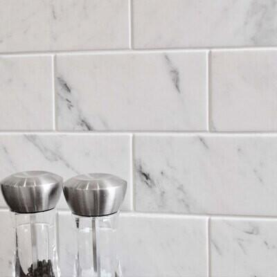 Marble Grey Ceramic Tiles 10 x 30 cm