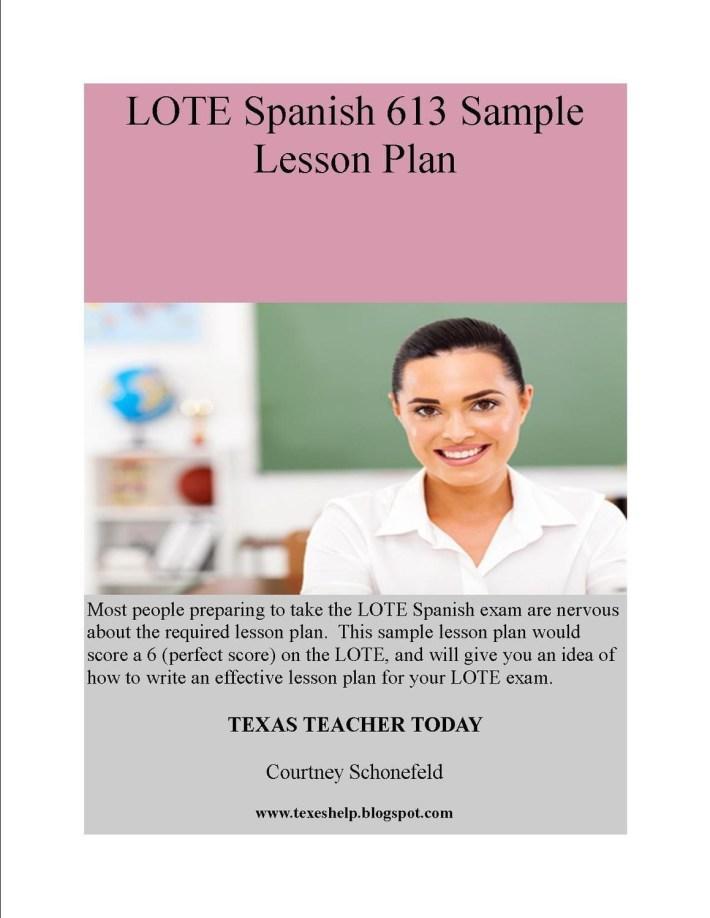 LOTE Spanish 613 Sample Lesson Plan