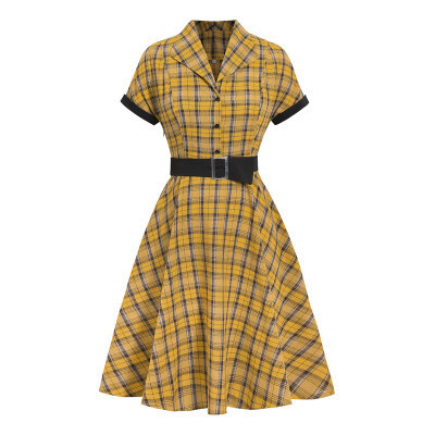 New Vintage klänning Yellow lapel IHJ4307
