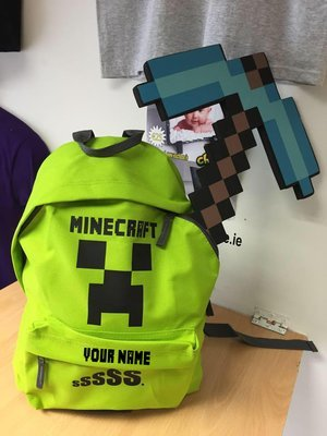 Minecraft style school bag