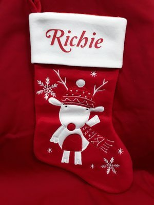 Plush reindeer stocking