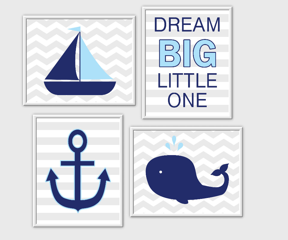 nautical baby boy nursery wall art sailboat anchor whale dream big little one quotes for baby boy decor blue blue gray decor for boys room prints kids