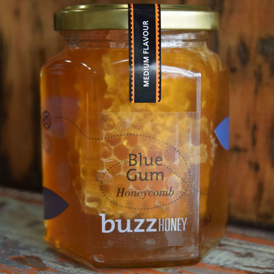 Honeycomb in Blue Gum Honey 360g Glass Jar