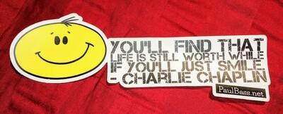 Smile Quote Bumper Sticker with Chaplin Quote