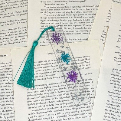 Standard Size Purple and Blue Floral Bookmark