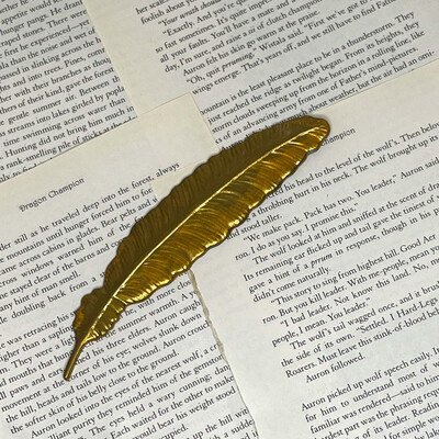 Gold And Black Feather Bookmark