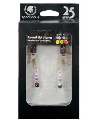 Spartacus Adjustable Broad Tip Nipple Clamps W/purple Beads