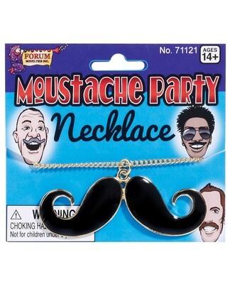 Mustache Party Mustache Necklace - Black/gold
