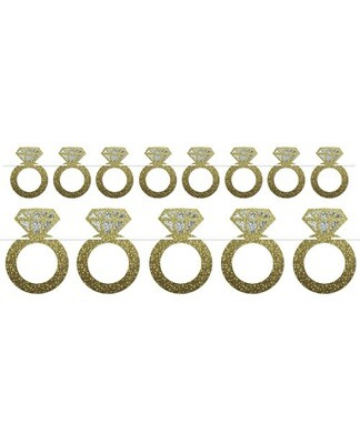 Diamond Rings Streamer - Gold