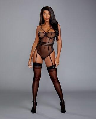 Sheer Stretch Mesh Snap Crotch Teddy W/removable Garters Black