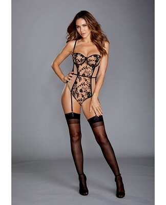 Sheer Stretch Mesh Teddy W/black Embroidery, Adjustable Straps & Snap Crotch