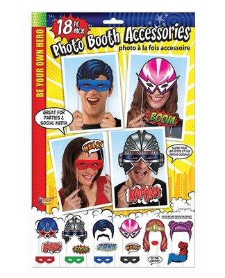 Be Your Own Hero Photo Booth Prop Kit - Set Of 18 Pc