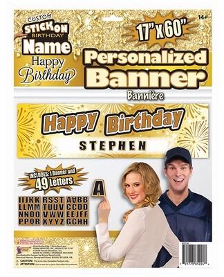 Custom Happy Birthday Banner - Gold/black