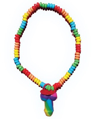 Rainbow Stretchy Cock Candy Necklace