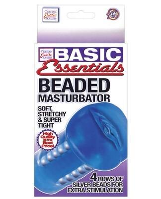Basic Essentials Beaded Masturbator - Blue