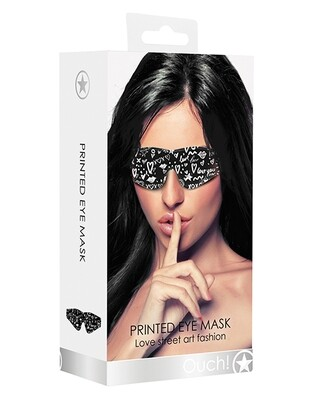 Shots Ouch Love Street Art Fashion Printed Eye Mask - Black