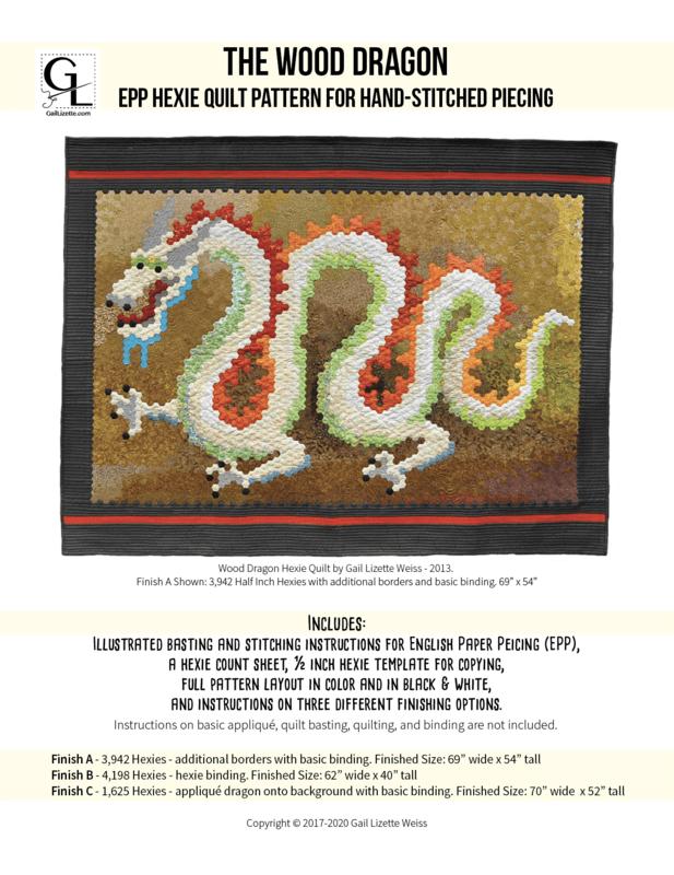 Wood Dragon Hexie EPP Quilt Pattern - PDF Download