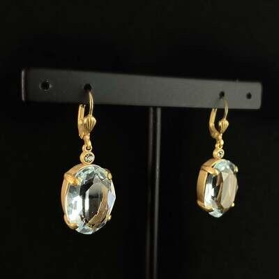 Oval Cut Swarovski Crystal Drop Earrings, Light Blue - La Vie Parisienne by Catherine Popesco