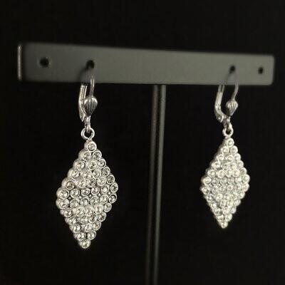 Diamond Shape Swarovski Crystal Drop Earrings, Gray - La Vie Parisienne by Catherine Popesco