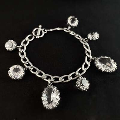 Oval and Round Cut Swarovski Crystal Bracelet, Clear - La Vie Parisienne by Catherine Popesco