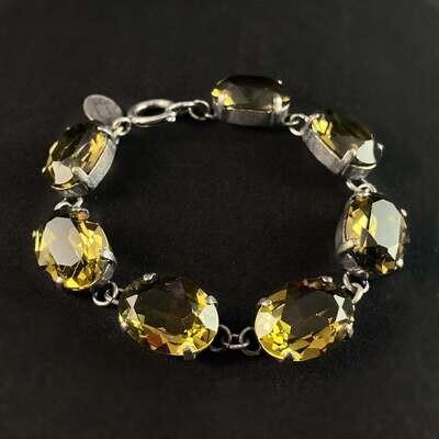 Oval Cut Swarovski Crystal Bracelet, Champagne - La Vie Parisienne by Catherine Popesco