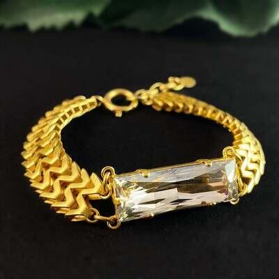 Rectangle Cut Clear Swarovski Crystal Bracelet - La Vie Parisienne by Catherine Popesco
