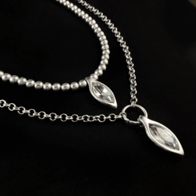 Long Silver Statement Necklace with Clear Crystal, Handmade, Nickel Free