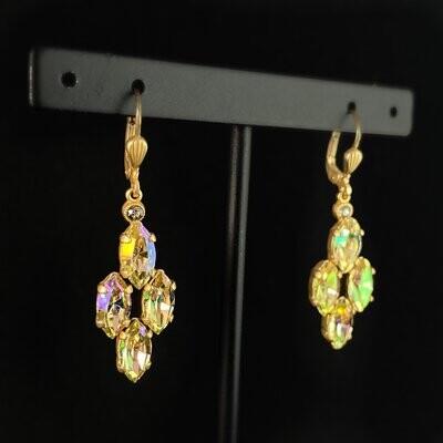 Marquise Cut Swarovski Crystal Drop Earrings, Rainbow Opal - La Vie Parisienne by Catherine Popesco