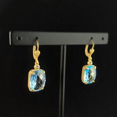 Rectangle Cushion Cut Swarovski Crystal Drop Earrings, Blue - La Vie Parisienne by Catherine Popesco