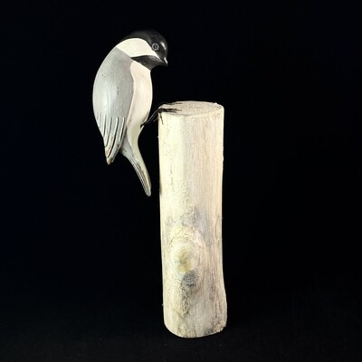 Handmade, Hand-painted Wooden Chickadee