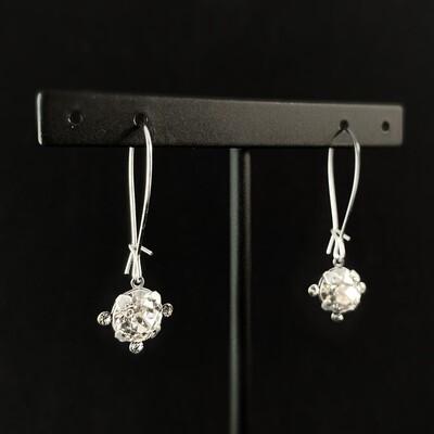 Round Cut Swarovski Crystal Earrings, Clear - La Vie Parisienne by Catherine Popesco