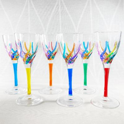 Venetian Glass Liquor Glass - Handmade in Italy, Colorful Murano Glass, Red Stem