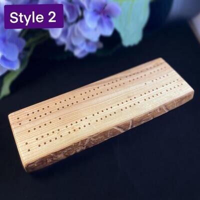 Handmade Wooden Cribbage Board with Pegs - Ash