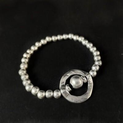 Silver Beaded Geometric Bracelet, Handmade, Nickel Free
