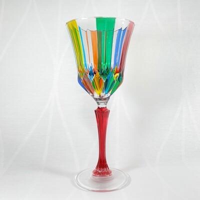 Venetian Glass Wine Glass - Handmade in Italy, Colorful Murano Glass