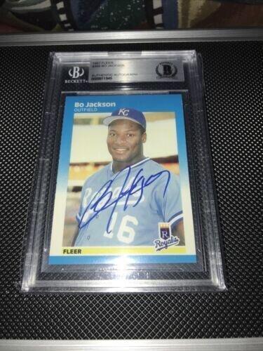 Bo Jackson 1987 Fleer autographed baseball card BAS