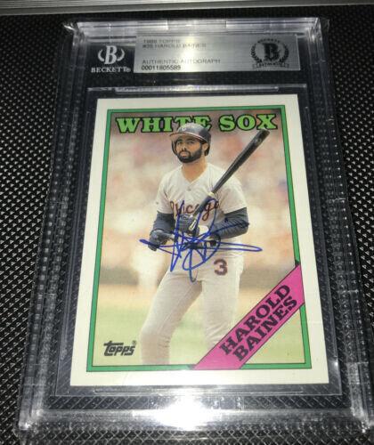 Harold Baines 1988 Topps autographed baseball card BAS