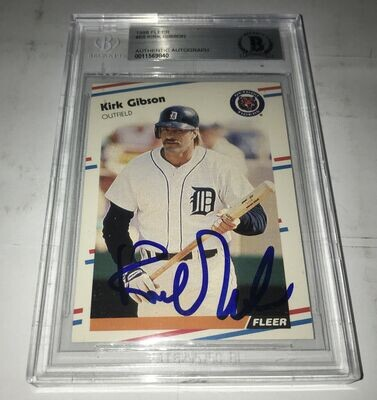 Kirk Gibson Autographed Baseball Card Beckett Slabbed