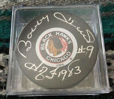 Bobby Hull Signed Chicago Blackhawks Puck w/1983 HOF (JSA)