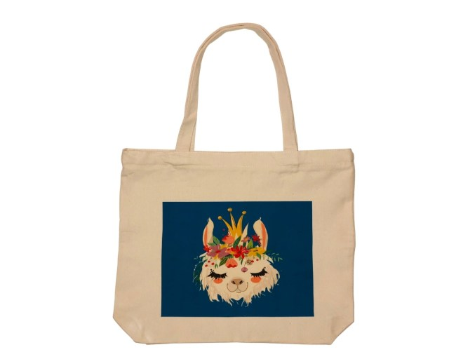 LLAMA WITH FLOWERS TOTE