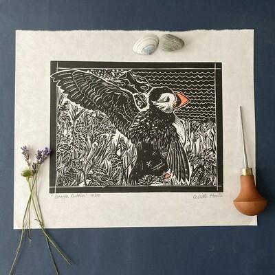 puffin lino print