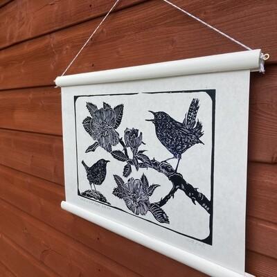 Wrens in wild roses linoprint