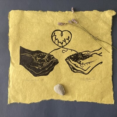 grow your own lino print on green lokta paper