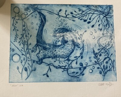 Otter Drypoint print