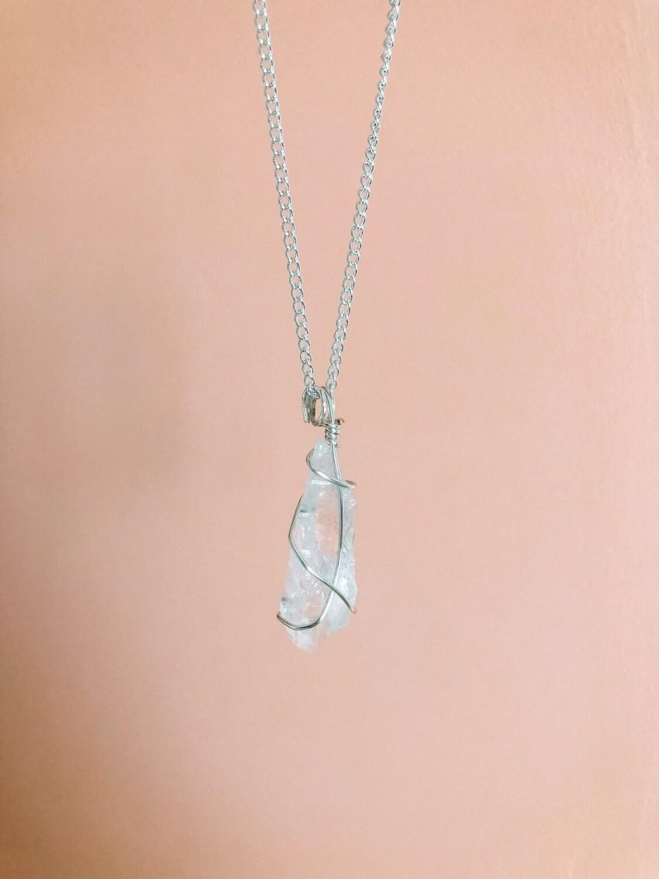 Clear Quartz Necklace, Silver
